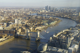 Elevated View of the River Thames Looking East Towards Canary Wharf with Tower Bridge