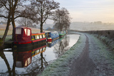 Barges on Monmouthshire and Brecon Canal in Frost