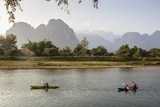 People Kayaking on the Nam Song River  Vang Vieng  Laos  Indochina  Southeast Asia  Asia