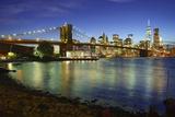 Brooklyn Bridge and Manhattan Skyline at Dusk from Brooklyn Bridge Park