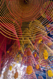 Spiral Incense Sticks at Ong Temple  Can Tho  Mekong Delta  Vietnam  Indochina