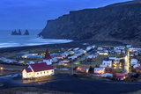 Twilight View across the Small Town of Vik  South Iceland  Iceland  Polar Regions