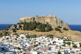 White Rooftops of Lindos with the Acropolis of Lindos  Rhodes  Dodecanese  Greek Islands  Greece
