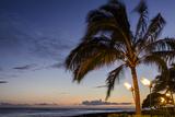 Tiki Torches at Sunset on Poipu Beach  Kauai  Hawaii  United States of America  Pacific