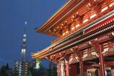 Senso-Ji Temple and Skytree Tower at Night  Asakusa  Tokyo  Japan  Asia