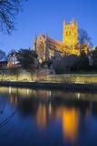 Worcester Cathedral on the River Severn Floodlit at Dusk  Worcester  Worcestershire  England  UK