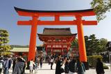 Worship Hall and Torii Gate  Fushimi Inari Taisha Shrine  Kyoto  Japan  Asia