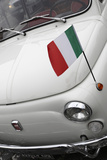 Italian Flag on Fiat 500 Car  Rome  Lazio  Italy  Europe