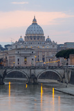 St Peter's Basilica  the River Tiber and Ponte Sant'Angelo at Dusk  Rome  Lazio  Italy