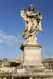 Bernini's Breezy Maniac Angels Statue on the Ponte Sant'Angelo with St Peter's Basilica Behind