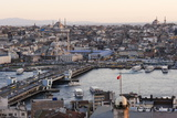 View over Istanbul Skyline from the Galata Tower at Sunset  Beyoglu  Istanbul  Turkey