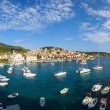 Elevated View over Hvar's Picturesque Harbour  Stari Grad (Old Town)  Hvar  Dalmatia  Croatia