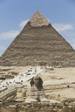 Sphinx in Foreground and Pyramid of Chephren  the Giza Pyramids  Giza  Egypt  North Africa  Africa