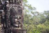Buddha Face Carved in Stone at the Bayon Temple  Angkor Thom  Angkor  Cambodia