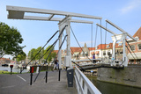 Bascule Bridge (Draw Bridge) and Houses in the Port of Enkhuizen  North Holland  Netherlands
