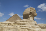 Sphinx in Foreground  and the Great Pyramid of Cheops  the Giza Pyramids