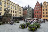 People Sitting at Stortorget Square in Gamla Stan  Stockholm  Sweden  Scandinavia  Europe