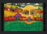 IRINALAND OVER THE BALKANS Reproduction d'art par Friedensreich Hundertwasser