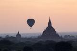 Hot Air Balloon over Temples on a Misty Morning at Dawn  Bagan (Pagan)  Myanmar (Burma)