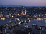View over Istanbul Skyline from the Galata Tower at Night  Beyoglu  Istanbul  Turkey