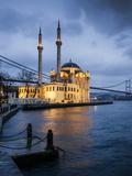 Exterior of Ortakoy Mosque and Bosphorus Bridge at Night  Ortakoy  Istanbul  Turkey