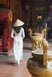 Woman Wearing Ao Dai Dress at Ha Chuong Hoi Quan Pagoda  Cholon  Ho Chi Minh City  Vietnam