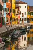 Colored House Facades Along a Canal  Burano Island  Venice  Veneto  Italy