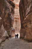 Tourists Approaching the Treasury from the Siq  Petra  Jordan  Middle East