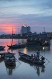 Boats on Can Tho River at Sunset  Can Tho  Mekong Delta  Vietnam  Indochina  Southeast Asia  Asia