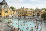 People Soaking and Swimming in the Famous Szechenhu Thermal Bath  Budapest  Hungary