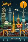 Tokyo  Japan - Retro Skyline