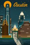 Austin  Texas - Retro Skyline