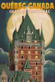 Quebec City  Canada - Chateau Frontenac and Full Moon