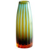Cyan And Orange Striped Vase - Small