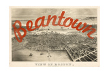 Beantown - 1870  Boston Bird's Eye View on July 4th  Massachusetts  United States Map
