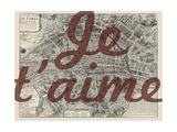 Je Taime - Paris, France, Vintage Map Reproduction d'art