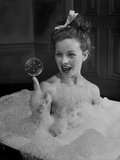 "Actress Jeanne Crain Taking Bubble Bath for Her Role in Movie ""Margie"""