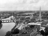 Worcester and the river crossings from the cathedral tower 1968