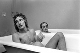 Elton John and Rod Stewart in bath at Watford FC  1973