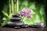 Spa Concept Zen Basalt Stones  Orchid and Candle