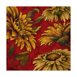 Yellow Floral on Red I Reproduction d'art par Elizabeth Medley