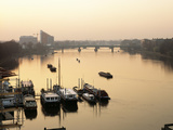Houseboats Moored on River Thames with Putney Bridge at Sunset  Uk