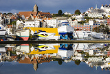 St Peter Port and Harbour Side Boats Reflected in a Model Boat Pond  Guernsey  Channel Islands  Uk