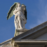 Scuola Grande Di San Fantin  Venice - Statue of Angel with Wings Above Pediment (Detail)
