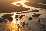 Aerial View of the Zambezi River  Tilt Shift Effect