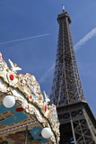 A Traditional Carousel Below the Eiffel Tower  Paris  France