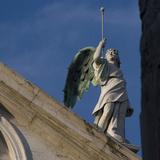 Scuola Grande Di San Fantin  Venice - Architectural Detail of Angel with Wings Above Pediment 1600
