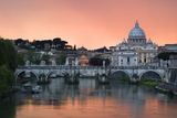Ponte Sant'Angelo and St Peter's Basilica at Sunset  Vatican City  Rome