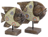 Kawela Glass Mosaic Fish Pair