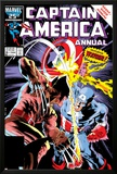Captain America Annual No8 Cover: Captain America and Wolverine Flying